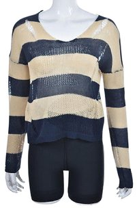 BCBGMAXAZRIA Womens Navy Blue Scoop Neck Striped Cotton Sweater