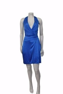 BCBGMAXAZRIA Halter Gather Stretch Faux Wrap Dress