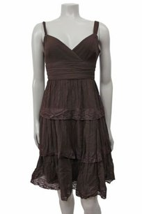 BCBGMAXAZRIA Cocoa Silk Lace Trim Tiered Empire Waist Dress