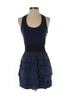 BCBGMAXAZRIA short dress Navy Tiered Sleeveless A-line Racer-back on Tradesy