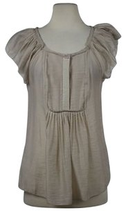 BCBGMAXAZRIA Womens Sm Semi Sheer Casual Shirt Cap Sleeve Top Beige