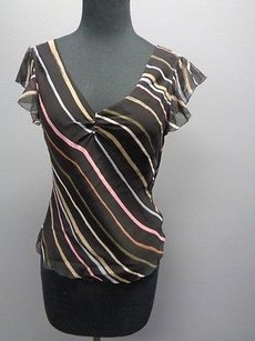 BCBGMAXAZRIA Striped V Neckling Ruffled Cap Sleeve Sm855 Top Black Blue Pink