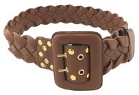 Be&D Be D Brown Braided Leather Wide Belt