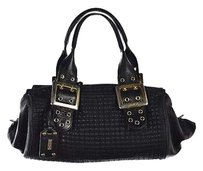 Be&D Be Amp D Womens Textured Leather Casual Handbag Satchel in Black