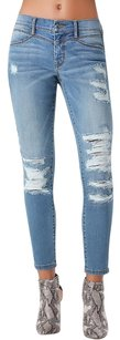 bebe Distressed Destroyed Denim Boyfriend Cut Jeans-Distressed