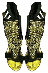 bebe Embellished Crystal Gold Gold Hardware Party Black Platforms