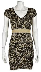 bebe Womens Printed Stretchy Casual Above Knee Sheath Dress