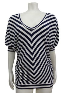bebe White Stripe Dolman Sleeve Stretch Knit Pull Over Top Navy