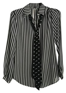 Bellatrix Top Black Stripe W/Polka Dot Tie