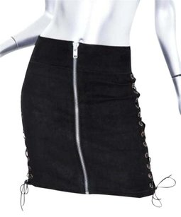 BESS Womens Lambskin Skirt Black