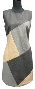 Beth Bowley short dress grays, tan Wool Color Block Sleeveless Lined Jumper 4772 A on Tradesy