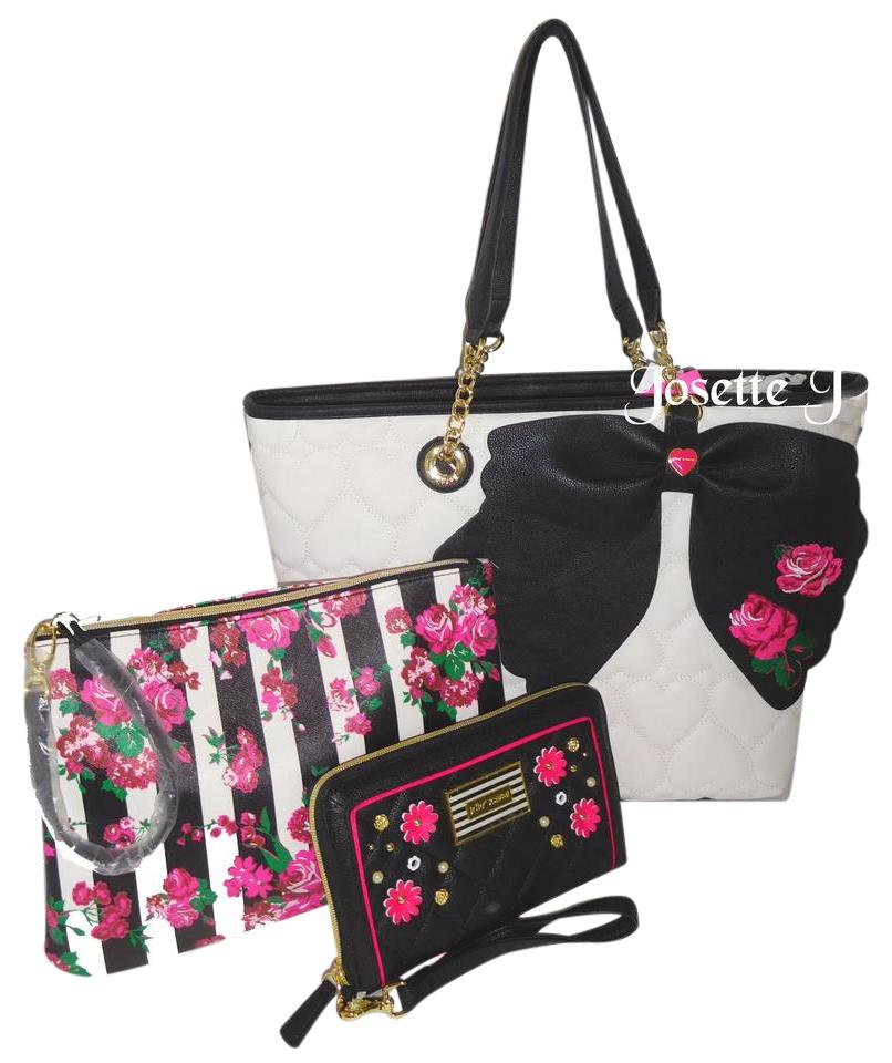 Betsey Johnson 2 In 1 Striped Floral Quilted Pouch Bone
