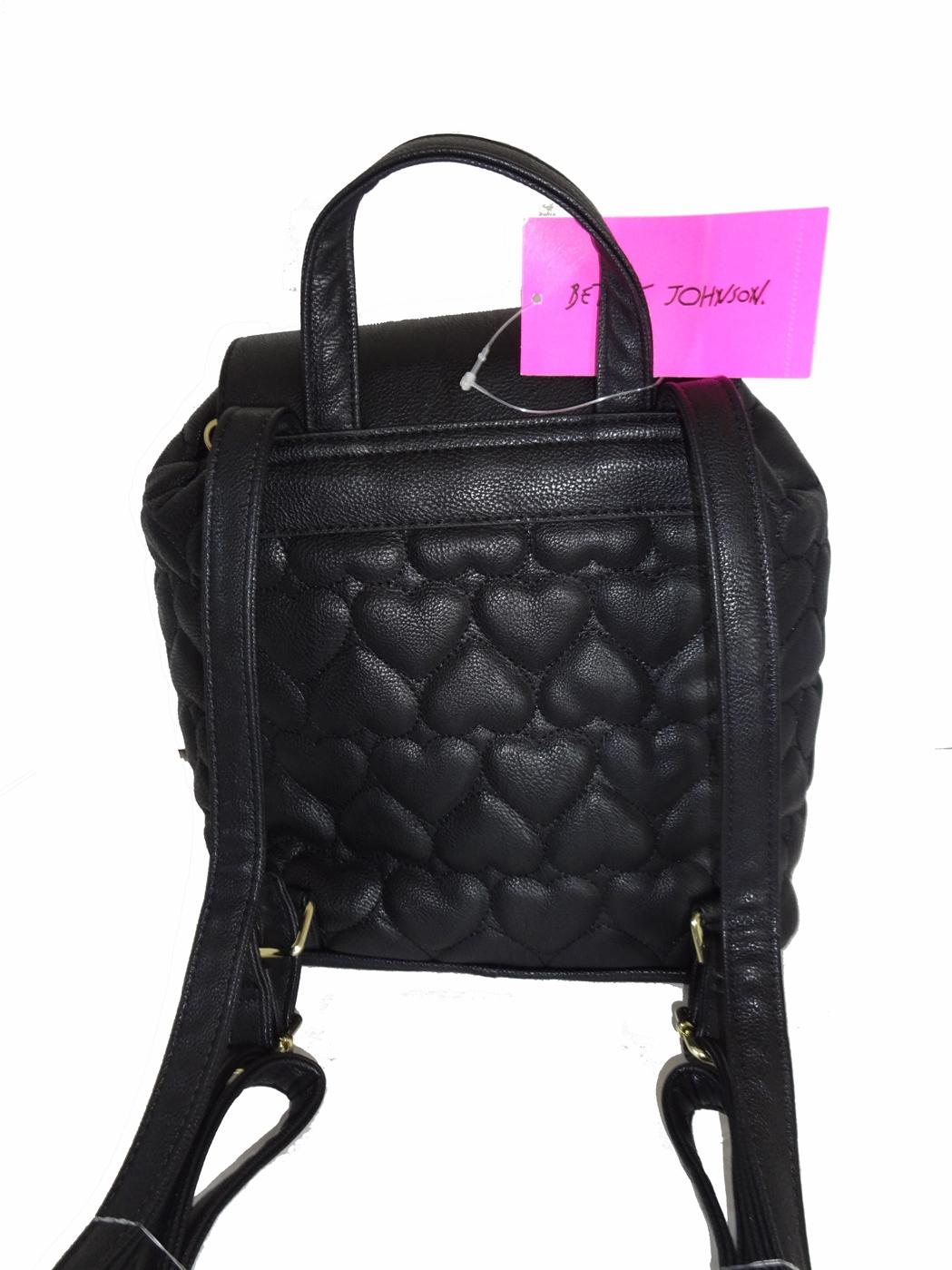 Betsey Johnson Adjustable Draw String Flap Closure Black