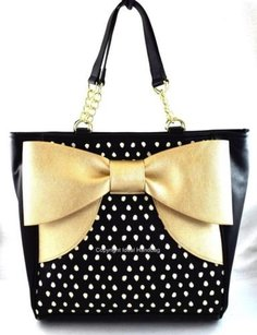 Betsey Johnson Bow Gold Tote in Black