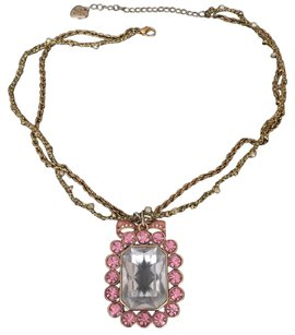 Betsey Johnson Betsey Johnson Crystal Rhinestone Necklace Pink Bow
