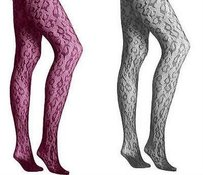 Betsey Johnson Betsey Johnson Luscious Leopard Fishnet Tights Charcoal Grey Or Purple 22844