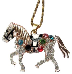 Betsey Johnson Betsey Johnson Swarovski Crystal Multicolored Horse Pendant Necklace