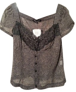 Betsey Johnson Betsy Silk Button Down Shirt Black/Taupe