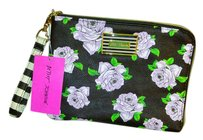 Betsey Johnson Floral Gold Hardware Detail Wristlet in Black multifloral