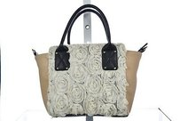 Betsey Johnson Johnson Womens Floral Handbag Casual Satchel in Beige