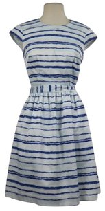 Betsey Johnson Womens Striped Above Knee Cap Sleeve Career Dress