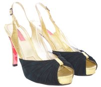 Betsey Johnson Velvet Metallic Peep Toe Open Toe Slingback Black and Gold Pumps