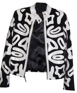 Beverly Hills Leather Club Black and White Leather Jacket