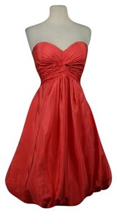 BHLDN Hitherto Womens Coral Strapless Silk Above Knee Party Sheath Dress