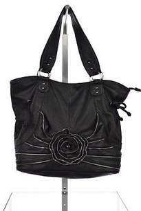 Big Buddha Womens Zippered Floral Handbag Satchel in Black