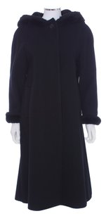 Bill Blass Trench Long Faux Fur Wool Hooded Fur Coat