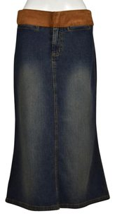 Billy Blues Womens Blue Denim Casual Below Knee Skirt Blue, Brown