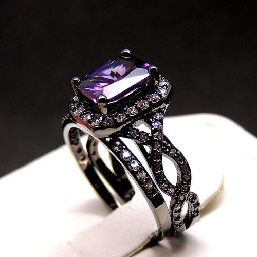 Black U0026 Purple Absolutely Very Elegant And Engagement And Gold Plated Wedding  Band Set Ring   Tradesy