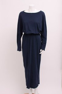 Blue Maxi Dress by Black Crane Navy Cotton Long Sleeve Elastic Waist Long Maxi