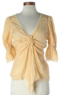 Black Halo Silk Lace Trim Tie Top Yellow