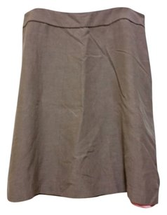 Boden Linen Silk A-line Comfortable Skirt Taupe with pink lining.