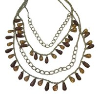Boho Chic Boho Chic Amber and brown tear drop 4 strand necklace