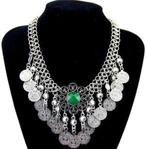 Boho Chic Silver Emerald gemstone Boho Bohemian chic festival turkish gypsy coin statement necklace,FREE SHIPPING