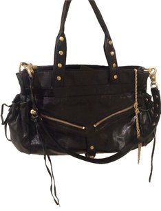 Botkier Leather Grommets Studded Satchel in Black