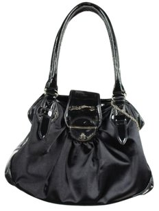 Botkier Womens Textile Patent Leather Full Zip Handbag Satchel in Black