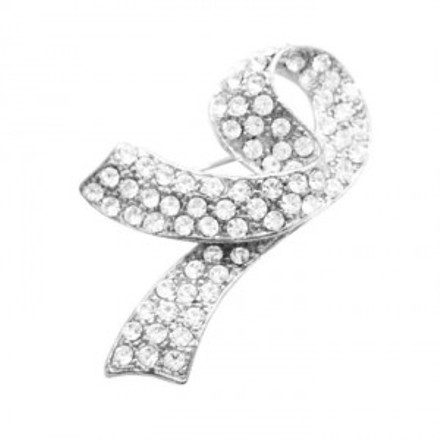 Silver Breast Cancer Fully Embedded W/ Crystals At Affordable Price Brooch/Pin