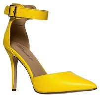 Breckelle's Ankle-strap Closed-toe Yellow Pumps