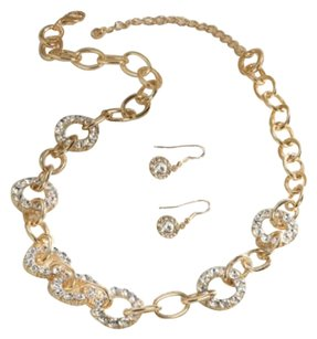 Breezy Couture Crystal And Golden Links Necklace And Earrings Jewelry Set