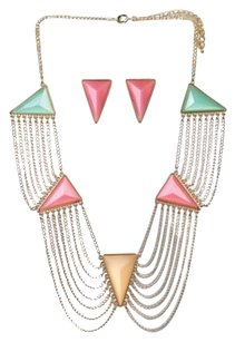 Breezy Couture Triangle Stone Necklace And Earrings Jewelry Set