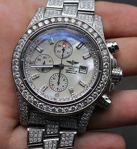 Breitling Breitling Super Avenger With Custom Set Diamonds Over Carats Of Real Diamonds