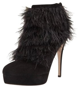 Brian Atwood Suede Feather Boot High Heel Ankle Bootie Black Pumps