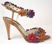Brian Atwood Flowers Ankle Strap Sandals Heels Camel / Multi-Color Pumps