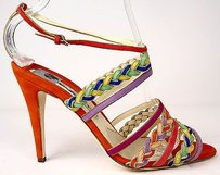 Brian Atwood Strappy Coral Suede Anke Strap Heels Multi-Color Pumps