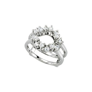 .70ct Diamnd 14k White Gold Bridal Ring Guard Band