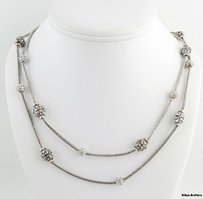 Brighton Brighton Beaded Necklace - Rhinestones 16-18 Double Snake Chain Womens Chunky