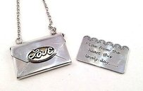 Brighton Brighton Love Heart Notes Silver Poetic Envelope With Inside Note Necklace
